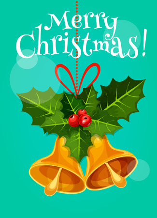 ilex: Christmas bell with red ribbon bow and leafy branch of holly tree with berry. Christmas and New Year greeting card or holiday poster design