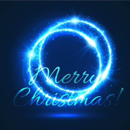 blue light background: Christmas shining ring background with blue glowing circle of sparkling light. Festive xmas and New Year party poster design