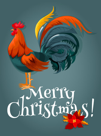 Christmas and New Year card with red rooster. New Year animal symbol with fire cock and christmas poinsettia flower. Winter holiday themes design Illustration