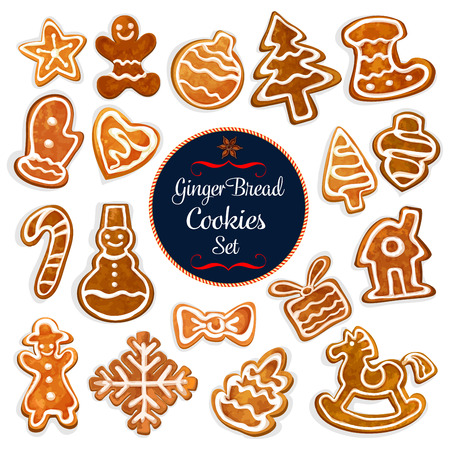 Christmas gingerbread cookie with icing. Traditional xmas gingerbread house, man and ginger cookie in a shape of christmas tree, ball, gift box, star, heart, snowman, candy cane, rocking horse, bow