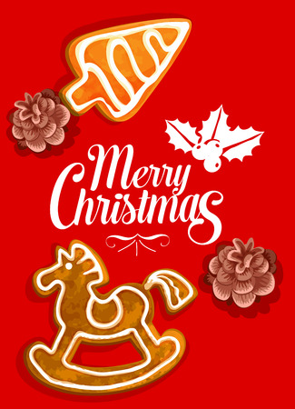 Christmas holiday ginger biscuit greeting card. Christmas tree and rocking horse cookie made of gingerbread with holly berry and pine cone poster for winter holiday decoration design