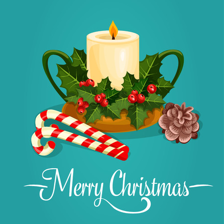 ilex: Christmas candle holder with holly berry poster. Ilex green leaf with red berry placed around burning candle with candy cane and pine cone. New Year and Christmas holiday greeting card design Illustration