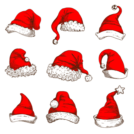 santa cap: Santa Claus red hat icon set. Christmas red hat and cap of Santa and elf with white fur trim, pom-pom, jingle bell and star. Christmas and New Year design element