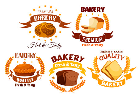 rye bread: Bakery shop product labels set. Vector gold yellow emblem of white wheat and brown rye bread and pies elements. Fresh baked wheat bread slices, Tasty pies with fruit and meat filling