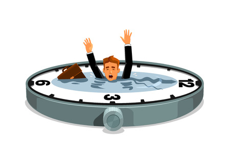 Businessman sinking in time. Business and work overtime excess. Free time lack. Vector clock element with water lake, desperate businessman with bag drowning in time ocean Illusztráció
