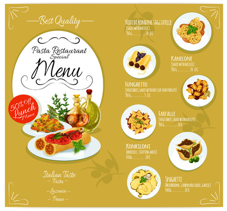 Pasta menu card template for Italian cuisine restaurant. Vector design with elements of pasta types lasagna, penne, spaghetti dish with meat and vegetable toppings, ingredients text, price, discount offer sticker