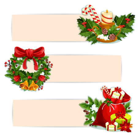 ilex: Christmas banner set of Santas gift bag with present and poinsettia flower, christmas tree wreath with holly berry, red ribbon bow and bell, candle with ilex and pine branches, candy cane and pinecone