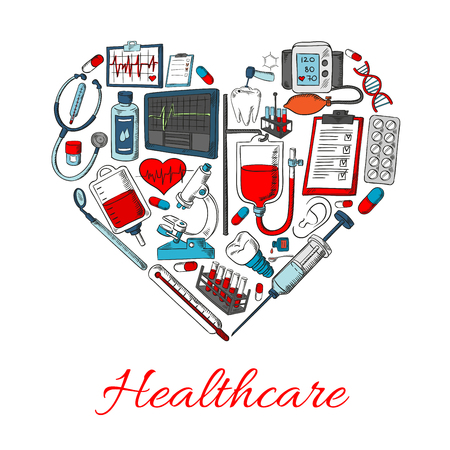 Healthcare icons in shape of heart with vector elements of medical and medicine equipment, medications objects syringe, pills, dropper, ointment, lungs, stethoscope, vial, spray, blood station Illustration