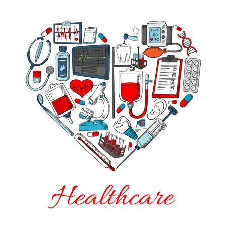 icônes de soins de santé en forme de coeur avec des éléments de vecteur de matériel médical et de la médecine, les médicaments objets seringue, pilules, gouttes, pommade, poumons, stéthoscope, flacon, pulvérisation, station de sang Vecteurs