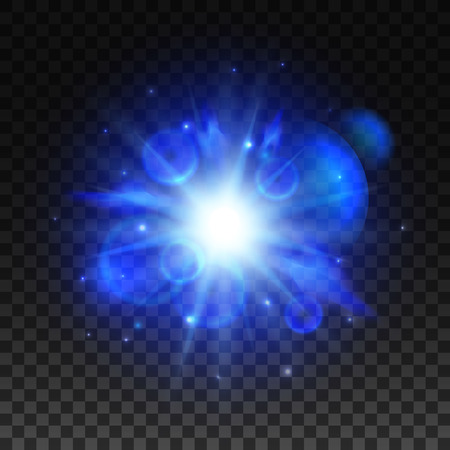 radiance: Blue star light space burst flash. Powerful shining of bright light with lens flare effect. Vector glowing sun with energy radiance on transparent background Illustration