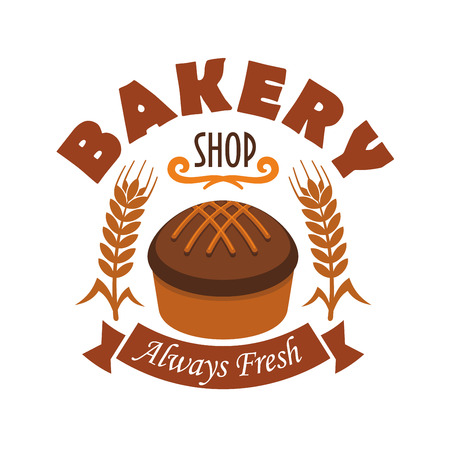 rye: Bakery shop vector label with fresh baked rye bread loaf, wheat and rye ears, brown ribbon with text. Design template for bakery, pastry shop emblem