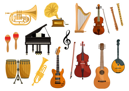 Vector icons of musical instruments. Isolated string and wind music instruments of cymbals, trumpet, drums, harp, gramophone, electric guitar, violin, contrabass, saxophone, flute mandolin music clef