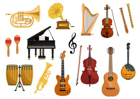 Vector iconen van muziekinstrumenten. Geïsoleerde string en wind muziekinstrumenten van cimbalen, trompet, slagwerk, harp, grammofoon, elektrische gitaar, viool, contrabas, saxofoon, dwarsfluit mandoline muzieksleutel