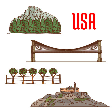 American Yosemite National Park, Napa Valley Viticultural Area, Brooklyn Bridge, Alcatraz Island. US natural and architecture landmarks icons for travel and vacation design elements