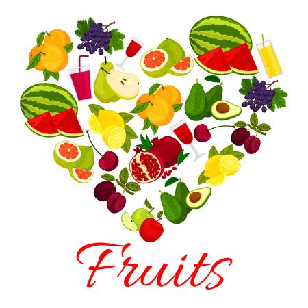 grape fruit: Fruit heart icon with fresh fruits and berries icons. Vector elements of fresh farm juicy fruits and fruit juice of watermelon, grape, plum, avocado, apple, orange, pomegranate, pear, lemon, pomelo, cherry Illustration