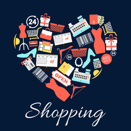 I love shopping emblem in shape of heart. Vector icons of modern luxury clothes and accessories of trendy woman. Dress, high heels, jewelry, gifts, hat, credit card, shopping basket. Conceptual shopping label design