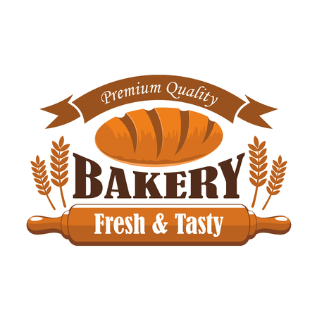 rye bread: Fresh tasty bakery products premium quality label. Vector icon of brown rye bread bun bagel, wheat ears, wooden rolling pin, ribbon with text. Bakery shop bread emblem design
