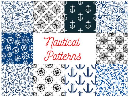 navy ship: Nautical navy seamless patterns. Set of vector pattern of anchor on chain, vessel ship steering wheel, compass arrows, lighthouse beacon for greeting card, decoration, textile, tile design Illustration