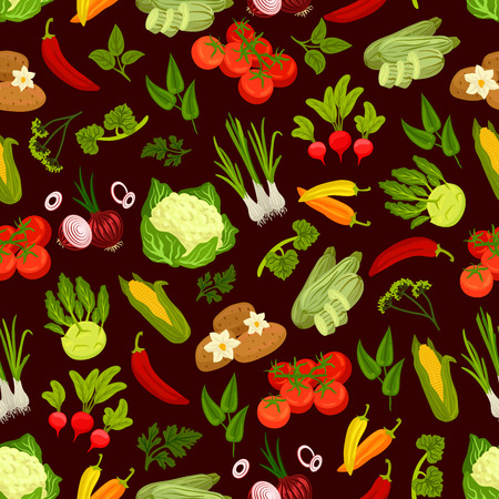 Vegetables decorative pattern. Vector seamless pattern of vegetarian products. Flat icons of fresh ripe garden cauliflower, potato, leek, tomatoes, pepper, radish, kohlrabi, corn, squash, onion parsley basil herb