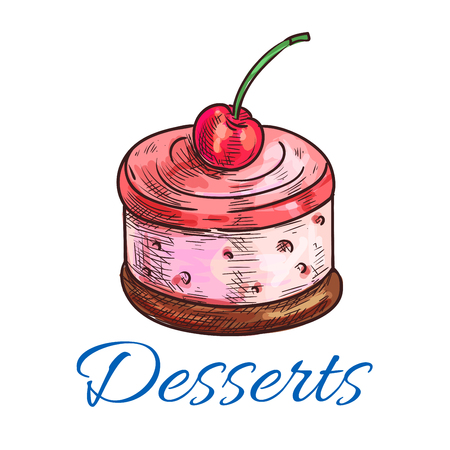 Desserts icon. Emblem of sweet cherry souffle biscuit. Creamy mousse cake vector color sketch label design for cafe menu card, cafeteria signboard, bakery shop decoration elements