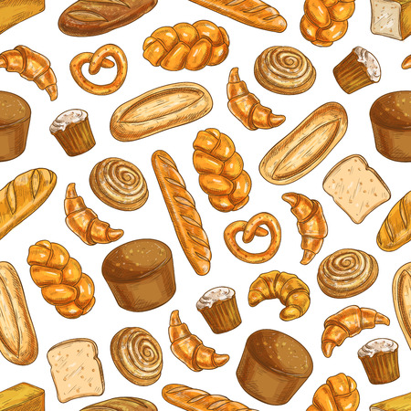 rye bread: Bakery fresh baked bread. Vector seamless pattern of sketch bread and bakery products wheat and rye bread loafs, bagels, croissants, pretzel, sweet buns, muffin, cupcakes for patisserie, bakery shop, pastry background design