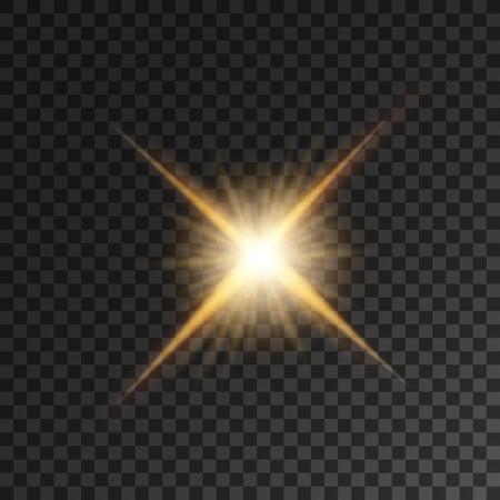 ゴールドの明るい星のライトが点滅します。輝く明るい金色ビーム。輝くスポット ライト輝く透明な背景に照明光の効果