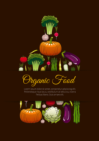 Organic vegetarian food emblem sign. Fresh farm vegetables poster in shape of cutting board. Healthy vegan nutrition label with elements of cabbage, pepper, bean, carrot, potato, kohlrabi, cucumber Illustration