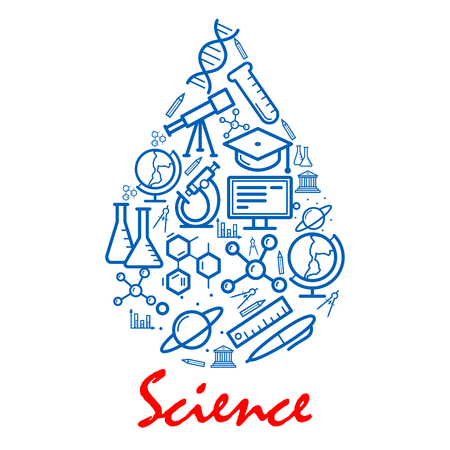 Science emblem in shape of water drop. Scientific objects for education design element. Vector outline icons of planet satellite, dna, telescope, graduation cap, globe, microscope, monitor, atom, computer
