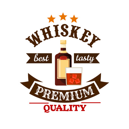 ice cubes: Whiskey icon. Drink bar pub menu card, sticker tag decoration element. Premium quality alcohol emblem. Vector whiskey bottle, glass with ice cubes, brown ribbon Illustration