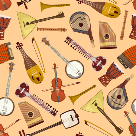 harmonic: Pattern with musical instruments. Vector seamless pattern with music string and wind instruments of drum, guitar, violin, harmonic, banjo, flute, mandolin, balalaika, gusli, accordion, biwa koto lute