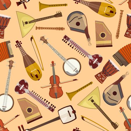 lute: Pattern with musical instruments. Vector seamless pattern with music string and wind instruments of drum, guitar, violin, harmonic, banjo, flute, mandolin, balalaika, gusli, accordion, biwa koto lute