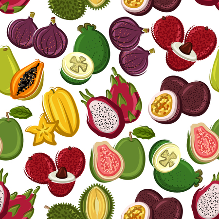 sliced fruit: Fruits pattern. Vector seamless pattern of papaya, mango, carambola, feijoa, passion fruit maracuja, dragon fruit, lychee, durian, guava, fig, mangosteen. Whole and half cut sliced exotic and tropical fruits