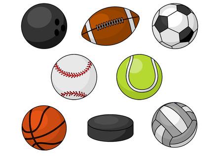 Sfere di sport. Isolati icone vettoriali di sfere di sport e gli elementi di gioco di squadra di bowling, calcio, rugby, calcio, baseball, basket, tennis, hockey puck, pallavolo