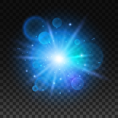 light beams: Bright star explosion. Light lens flare sparkle. Shining light of blue star. Blue light effect with sun beams radiance on transparent background