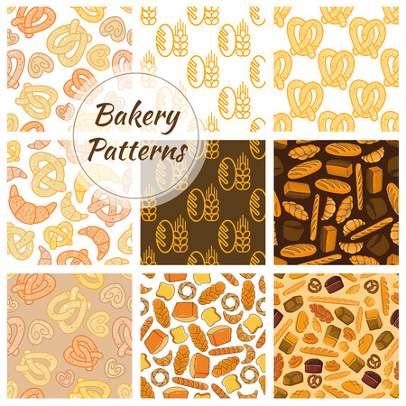 wheat bread: Bakery fresh baked bread. Vector seamless pattern of sketch bread and bakery products wheat and rye ears, bread loafs, bagels, croissants, pretzel, sweet buns, muffin, cupcakes for patisserie, bakery shop, pastry background design