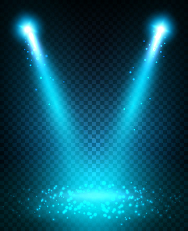 light spot: Spot light beams projection on stage scene. Blue light sparkles shining and reflecting on floor. Disco neon lamp flashes. Light effect on transparent background Illustration