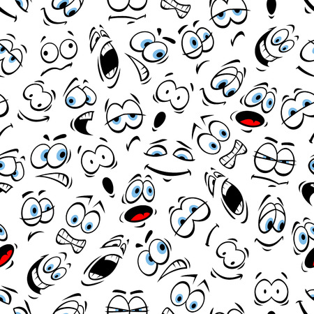 Emoticons pattern of human face emotions. Vector seamless pattern of cartoon human face with mood expression smiling, bored, winking, happy, surprised, sad, angry, crying, shocked, comic, silly, scared sleepy