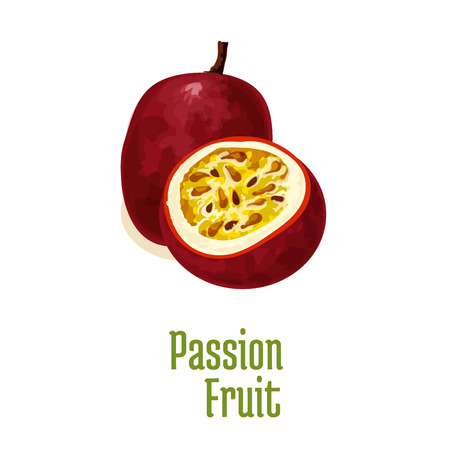 pulp: Passion fruit maracuya. Vector isolated icon of exotic tropical isolated fruit. Whole and slice half cut fresh passion fruit with juicy pulp. Design element for juice drink
