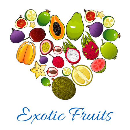 exotic fruits: Exotic fruits icons in shape of heart. Vector emblem of tropical fruits pattern papaya, mango, carambola, feijoa, passion fruit maracuja, dragon fruit, lychee, durian, guava, fig, mangosteen combined in love heart. Emblem for fruit products design