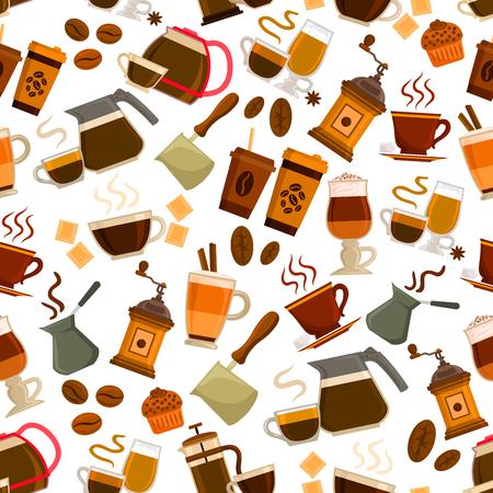 cappucino: Coffee drinks pattern. Vector seamless pattern of steamy coffee cappucino cup, retro coffee latte maker, vintage coffee mill, turkish cezve, hot milk macchiato, coffee beans, chocolate dessert cake. Cafeteria, cafe decoration background