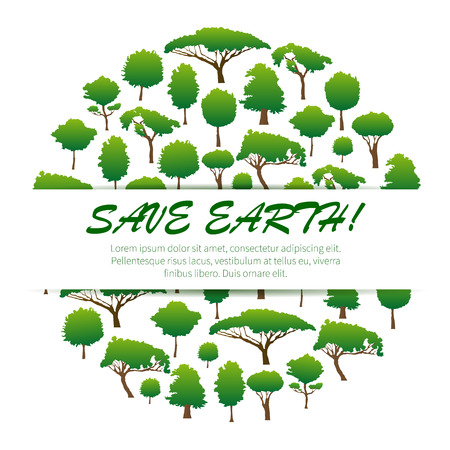 plants and trees: Save Earth. Environmental banner, placard, poster, emblem design. Green nature conservation and environment protection sticker label of green trees, plants. Natural ecology concept