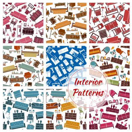 decoration objects: Interior furniture and home objects patterns set. Color interior elements decoration seamless background. Vector retro and classic household objects of room interior