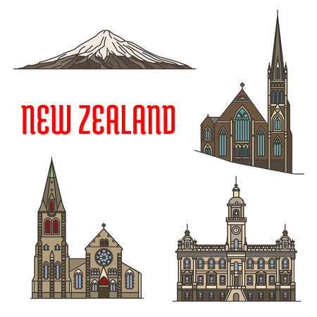 New Zealand tourist attractions and landmarks. Mount Taranaki, Knox Church, Dunedin Town Hall, Christchurch. Historic famous buildings vector detailed icons for travel, vacation design
