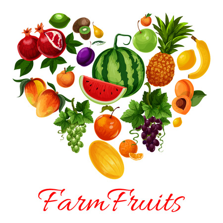grape fruit: Fruits icons in heart shape. Fruit emblem of tropical and farm fruits pattern watermelon, pineapple, grape bunch, apricot, mango, melon, plum, banana, citrus lemon, lime, kiwi, pomegranate. I love fruits label for fruit products design Illustration