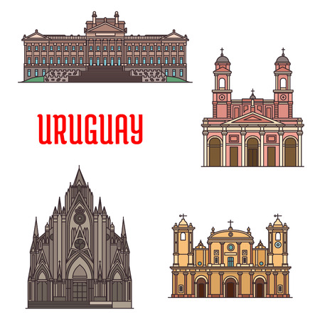 Uruguay architecture tourist attraction icons. Legislation Palace Montevideo, Church of Virgin of Mount Carmel and St Therese of Lisieux, Iglesia de los Carmelitas, San Fernando de Maldonado Cathedral, Montevideo Metropolitan Cathedral Illustration