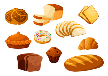 sliced fruit: Bakery shop isolated vector flat icons. Baked bread products wheat, rye bread loafs, bagels, sliced bread toasts, croissant, chocolate muffin, donut, meat and fruit pie. Elements for bakery, pastry design