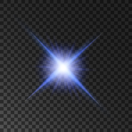 blue star background: Star light shine. Glowing spot light beams. Vector isolated blue purple twinkling star. Shining sun on transparent background