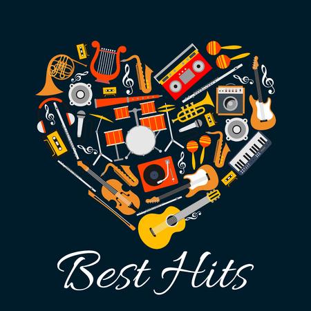 음악 엠블럼. 심장 모양의 악기입니다. 문자열, 바람, 전기 음악 악기의 패턴으로 벡터 음악 레이블. Best Hits 디스크 커버, 콘서트 배너, 음악 페스트 포 일러스트