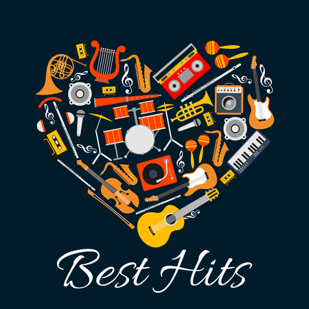 Music emblem. Musical instruments in heart shape. Vector music label with pattern of string, wind, electric music instruments. Best Hits disc cover, concert banner, music fest poster Çizim