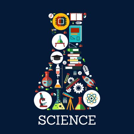 Scienza concettuale emblema in forma di laboratorio di chimica bottiglia di beaker. Scienza, educazione e conoscenza simbolo combinato di vettore piatto icone libro, lampada a razzo, dna, grafici, grafici, globo, microscopio, monitor, atomo, telescopio Vettoriali